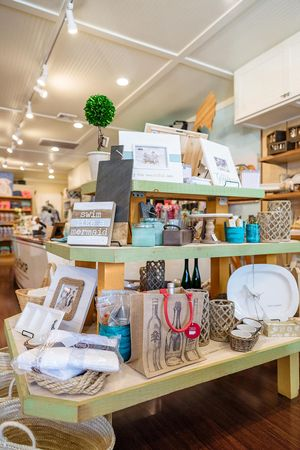 Retail table in the Beach Shop
