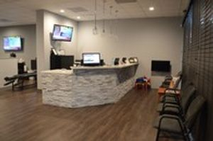 Our front desk in our reception area.