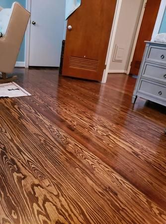 We Installed this 2 1/4 pine floor 2 years ago, still looking great.