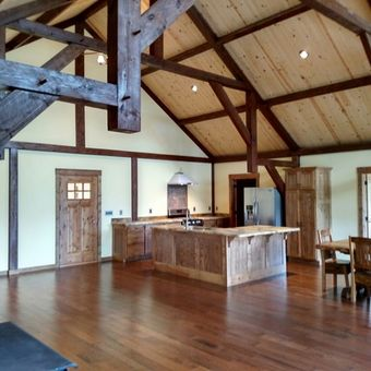 A beautiful great room recently finished by Northwest log homes.
