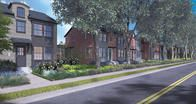 The view along 9th Avenue West showcases mature, retained trees with classic shingle and brick row style architecture.