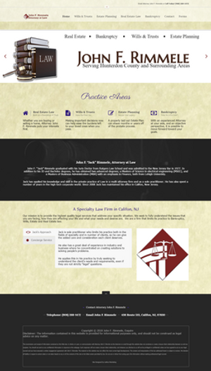 Web Design for an Estate Planning, Bankruptcy, and Real Estate Attorney in Califon, NJ, Design by Lattice Marketing.