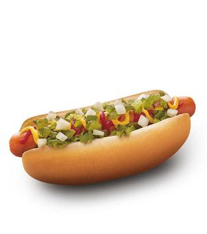 SONIC's Premium Beef All-American Dog's got it all. It's a beef hot dog made with 100% pure beef that's grilled to perfection and topped with ketchup, yellow mustard, relish and chopped onions and served in a soft, warm bakery bun.