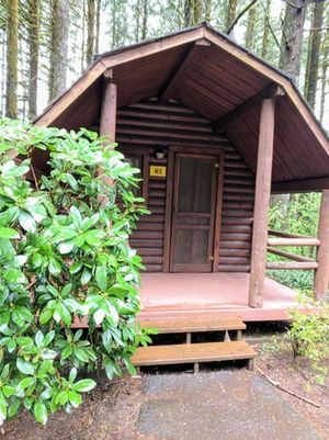 Exterior of 1 room camping cabin in early Spring*each 1 room camping cabin is similar