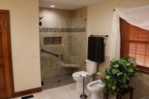 New master bathroom with custom tile shower.