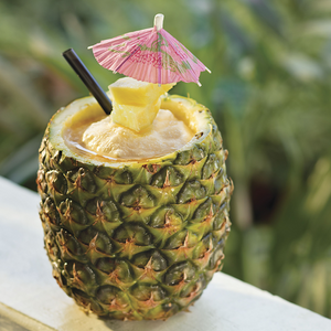Ultimate Pineapple – With spiced rum, Coco López & Bacardi Black Rum swirled with strawberry ice and served in a freshly cut pineapple.
