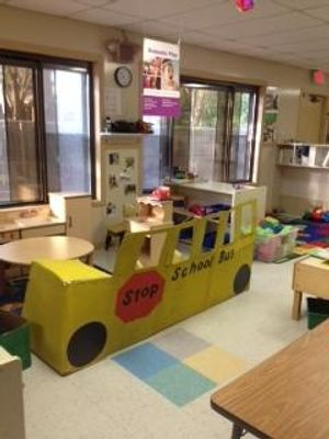 """Our two year olds made this bus during our """"Things that Go"""" curriculum."""