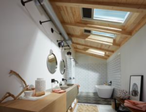 VELUX Skylights brighten the bathroom. Get yours installed by Legacy Roofing LLC