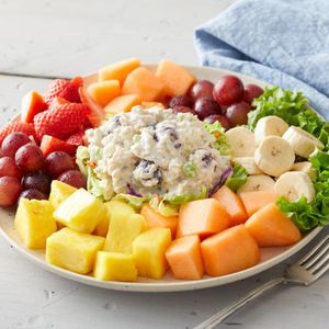 Back by popular demand, our signature chicken salad is a summer favorite! Served with fresh-cut fruit.