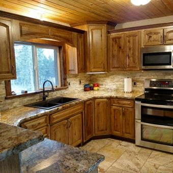 A happy customers solid hickory kitchen.