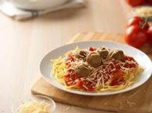 Five meatballs on spaghetti, crushed tomato marinara and parmesan