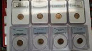 A sampling of the high grade slabbed pennies, both Lincoln and Indian cents.