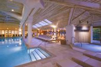 Indoor spa pool and waterfall