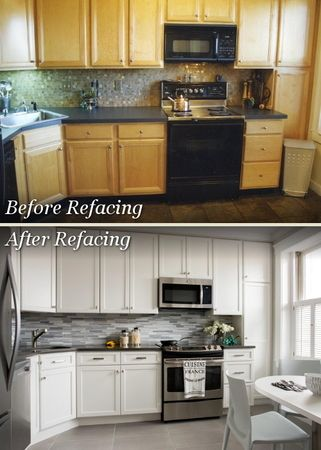 Cabinet refacing enables you to revitalize your kitchen with new doors, drawer fronts and matching veneer, while keeping your existing cabinet boxes.
