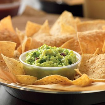 Hand-smashed-in-house-daily guacamole is best served with freshly fried in-house tortilla chips.