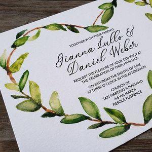 Olive Wreath Wedding Card
