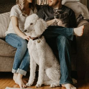 A family with their two dogs