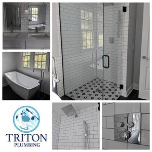 Can't stop won't stop! ANOTHER bathroom remodel completed. We're really proud of this one. The customer decided to go all out wanting a stand-alone tub, floor mount tub filler, and a push-button shower controls. We can do everything from basic plumbing to high-end complicated installs! Trust in Triton!