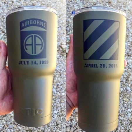 Custom Engraved and powder coated army green, 30oz tumbler. All Military Patches available. $30 powder coat and $20 engraving.