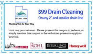 $99.00 drain cleaning