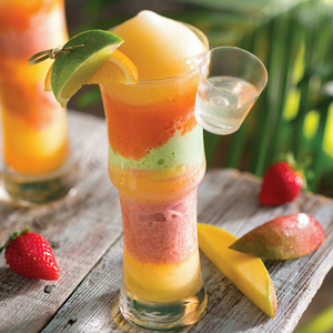 Frozen Bahamarita® - Frozen Margarita, made with tequila, kiwi melon, strawberry and mango ices. With a shot of cactus juice schnapps.