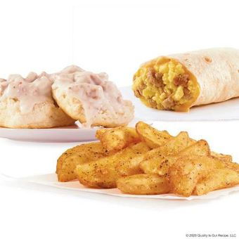 Wendy's Sausage, Egg & Cheese Burrito, Seasoned Potatoes and Sausage Biscuit & Gravy