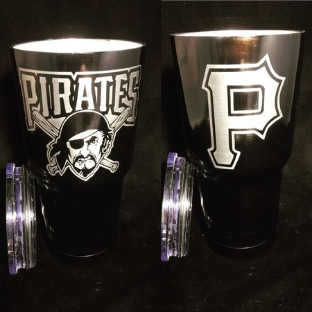 Baseball Fan? Go Pirates! Powder coated Gloss Black and custom engraved.