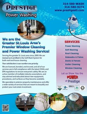 Window cleaning, gutter cleaning, concrete cleaning, and more! Contact Prestige Power Washing in Ballwin, MO.