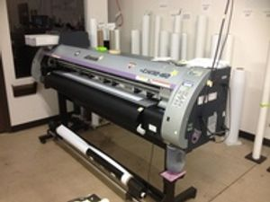 Professional wide format printing equipment.  Produces at a very high speed but maintains superior print quality.  Produces products such as stickers, banners, flags, labels, signs, car wraps, window covers, posters and decals.