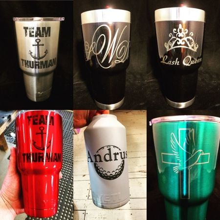 Custom Engraved Yeti Cups! Stop by our store or Bring your steel cup in today. Keep it wild!