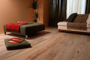 DuChateau European White Oak floors bring a rustic sense of luxury to this living room