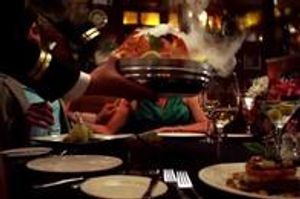 This appetizer is delivered steaming in dry ice to your table