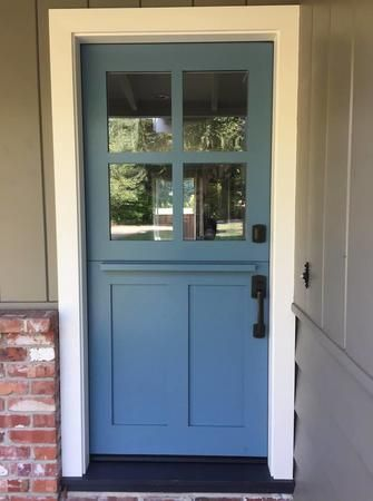 Fun blue Dutch door to allow some fresh air in your home! Contact us Today to get yours!