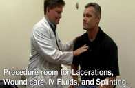 Procedure room for lacerations, wound care, IV fluids and splinting.