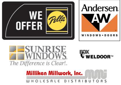We offer the top brands of window and door replacements.