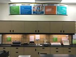 Get a feel for our store... this is our back counter area where we work on all the finishing touches, such as binding and laminating, for your printing projects.