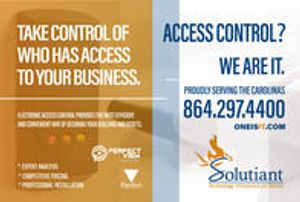 Electronic access control provides the most efficient and convenient way of securing your building & assets. We provide expert analysis of your access control needs, competitive pricing & installation. Proudly serving the Carolinas since 1981. Contact us today at 864.297.4400, info@solutiant.com or visit Oneisit.com