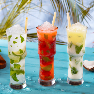 Choose from our 3 tropical mojitos: Cubano, Coconut, and Strawberry.