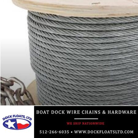 Boat Dock wire chains and accessories Austin, Texas. Contact Dock Floats Ltd in Austin for your FREE phone consultation: 512-266-6035