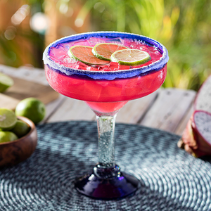 Dragon Fruit Margarita - Patrón Silver Tequila, triple sec, dragon fruit, key lime juice, sweet & sour with a sugar rim.