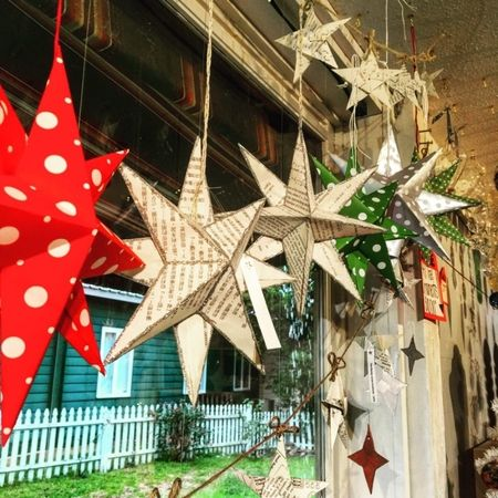 Paper craft Stars, great for your tree or window. Stop in for yours today!