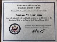 Attorney Susan Suriano was admitted to practice in the United States District Court, Southern District of Ohio.