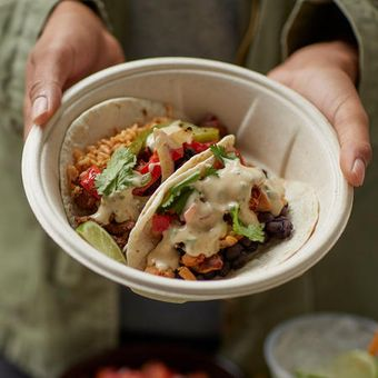 Tacos can be customized with flavorful favorites like grilled adobo chicken or grilled ranch steak and 3-cheese queso.