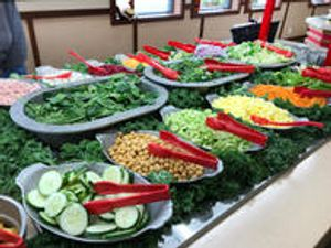 Our famous fresh salad bar with a great selection of items at Iron Skillet.