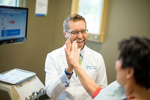 Sometimes you have to high five to dental care! Call your local office with any questions or to book an appointment.