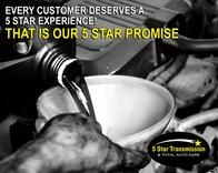 Hey! Did you KNOW that transmission fluid is part of your vehicle's performance? This fluid assists proper valve operation, reduces brake band friction, and lubricates the torque converter. We're your transmission experts. Make sure your next transmission fluid change is a 5 Star Experience! http://www.5starconcord.com/