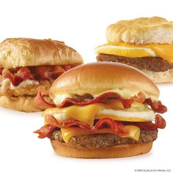 Wendy's biscuit, croissant and classic breakfast sandwiches