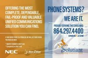 The most complete, dependable, fail-proof, and valuable unified communications solution you can find. The entire system is self-monitoring, extremely flexible and easy to use. Proudly serving the Carolinas since 1981. Contact us today at 864.297.4400, info@solutiant.com or visit Oneisit.com