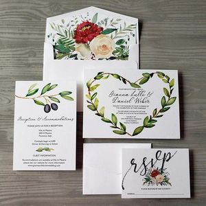 Watercolor Wreath Rustic Invitation Suite