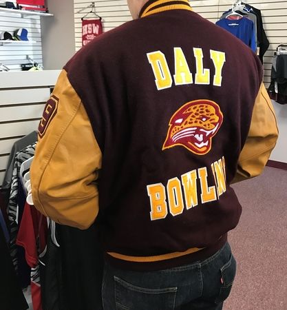 For the lettermen (and women) in your life, we offer made-to-order, custom school jackets.  Call to arrange a fitting appointment today!  We can promptly and affordably add acquired award elements (bars, patches, etc) to any jacket, whether you bought it from us or not.
